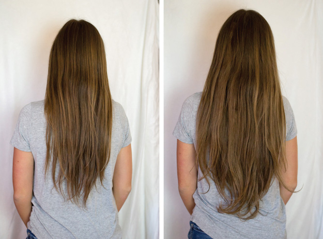 Before & After Irresistible Me Hair Extensions - Chasing Cinderella