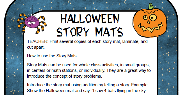 Peterson's Pad: Halloween Story Mat FREEBIE!