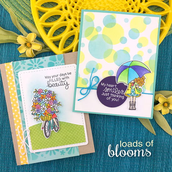 Spring cards with bicycle and umbrella by Jennifer Jackson | Loads of Blooms Stamp Set, Bold Blooms and Bokeh Stencils by Newton's Nook Designs #newtonsnook #handmade
