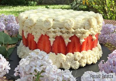 fraisier de pâques, dessert de pâques, fraisier design, chocolat blanc et fraises