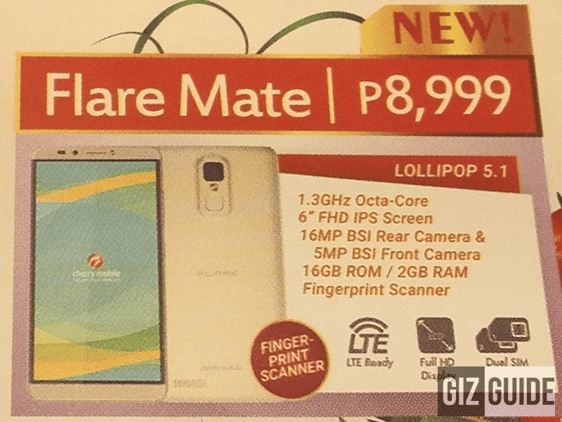 Cherry Mobile Flare Mate To Be Available This December, Comes With 6 Inch Screen, Octa Core Chip And Fingerprint Sensor!