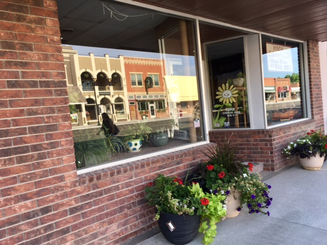 morning walk on Main St, flowers and reflections in windows