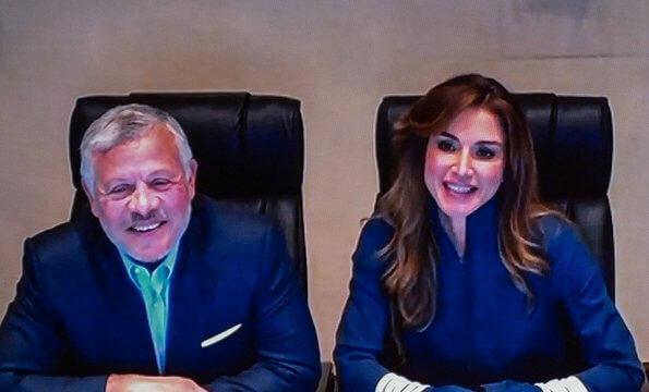 Queen Rania wore Ganni presbourg jersey jacket. King Abdullah and Queen Rania met with orphans in Irbid