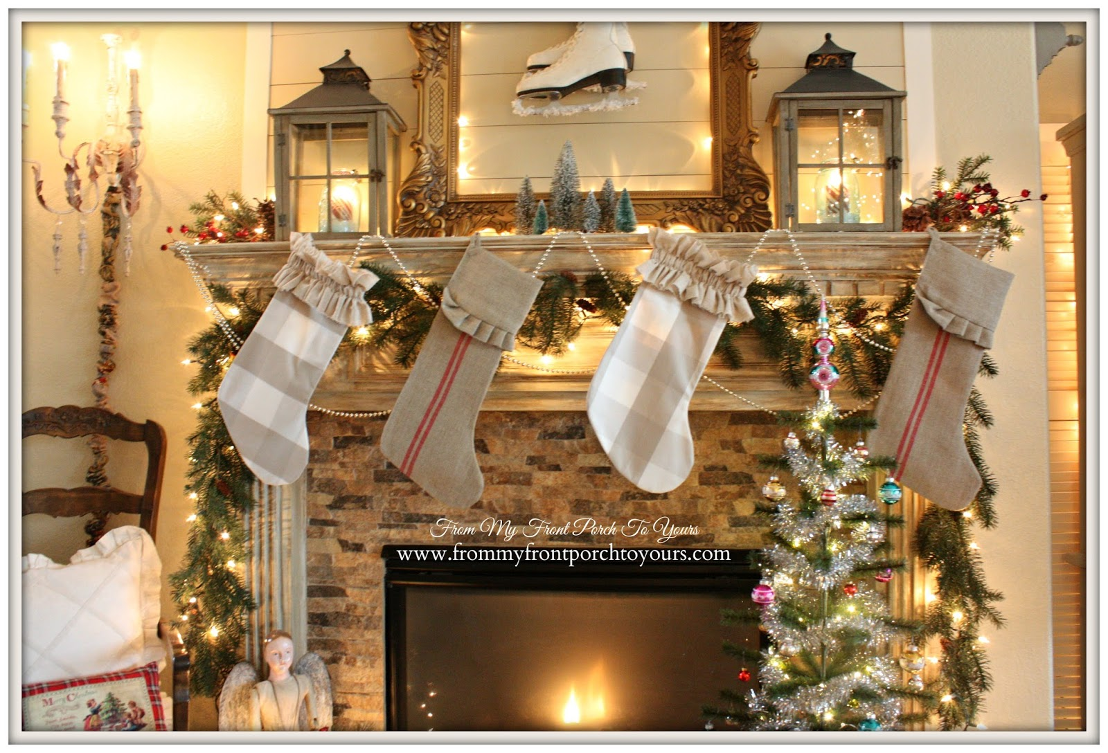 Grain Sack Christmas Stockings-DIY Buffalo Check Christmas Stockings-French Farmhouse Vintage Christmas Mantel 2014- From My Front Porch To Yours