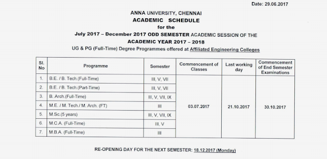 Anna University College Reopening Date 2017-18