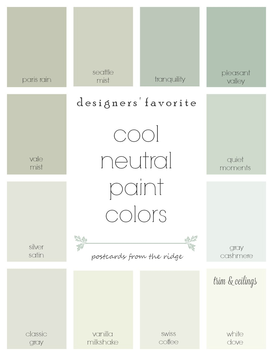 Neutral Color Designers' Favorite Cool Neutral Paint Colors  Postcards From The