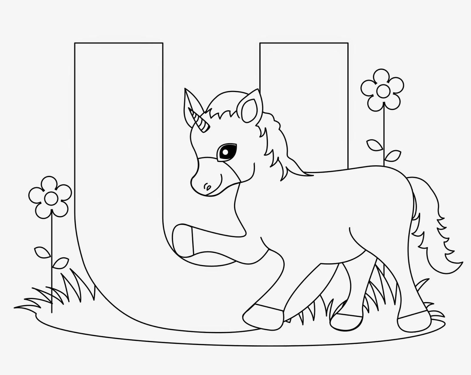 Kids Page U Is For Unicorn