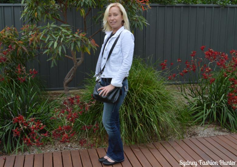 Gap White Denim Jacket, True Religion Jeans, Shoes of Prey Glitter Ballet Flats