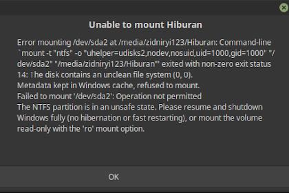 Cara Mengatasi  Error mounting /dev/sda di Linux