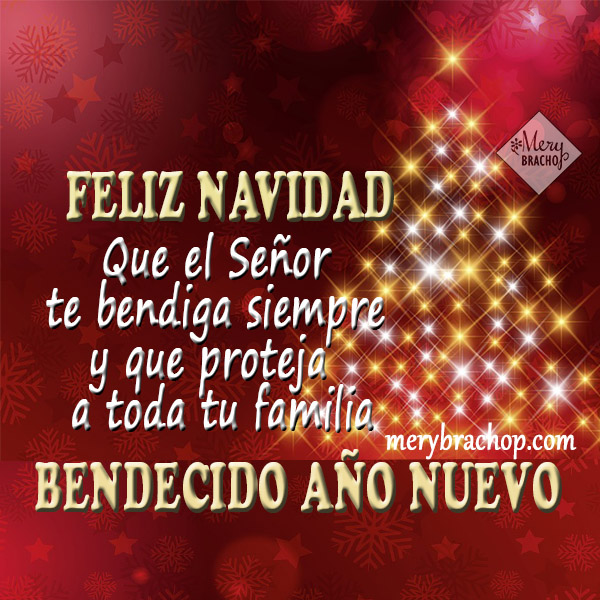 tarjeta con bendiciones de feliz navidad y año nuevo mery bracho