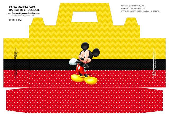 Mickey in Red and Yellow Free Printable Suitcase Box.