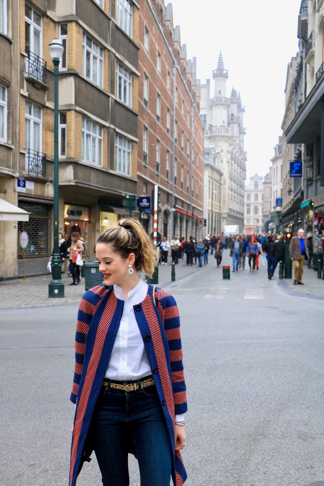 Fashion blogger Kathleen Harper's street style in Brussels, Belgium