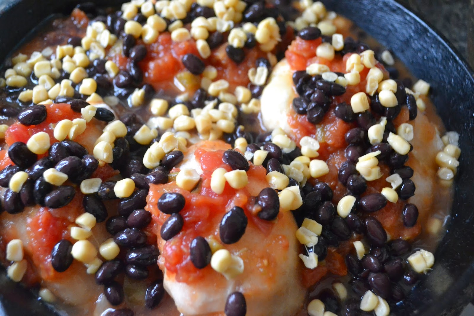 Southwest Chicken with black beans and salsa