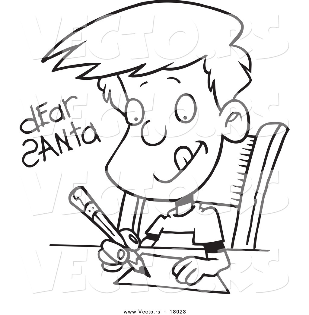 Free coloring pages of a boy writing