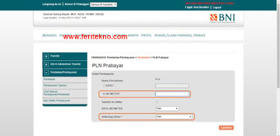 beli token listrik via internet banking bni 3