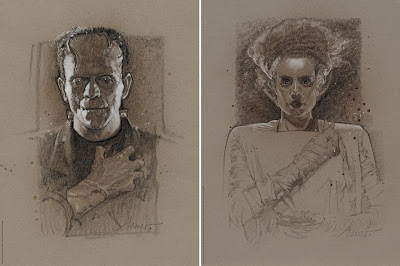 MondoCon 4 Exclusive Frankenstein & Bride of Frankenstein Screen Prints by Drew Struzan