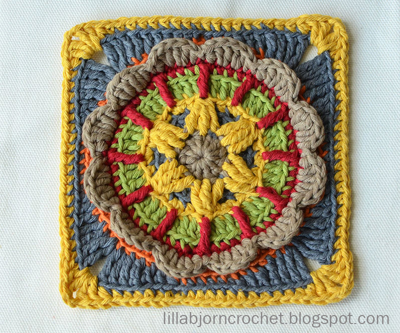 Block 7 from Circles of the Sun Mystery CAL (overlay crochet). Designed by LillaBjornCrochet