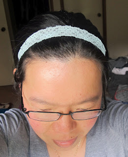 image lace ribbon headband pastel blue
