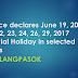 #WalangPasok: Palace declares June 19,20,21,22,23,24,26,29, 2017 Special Holiday in selected areas
