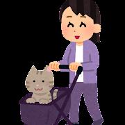 ペットカートを押す人のイラスト(猫)