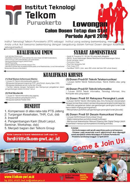 Lowongan Calon Dosen Tetap dan Staf Institut Teknologi Telkom Purwokerto Periode April 2019