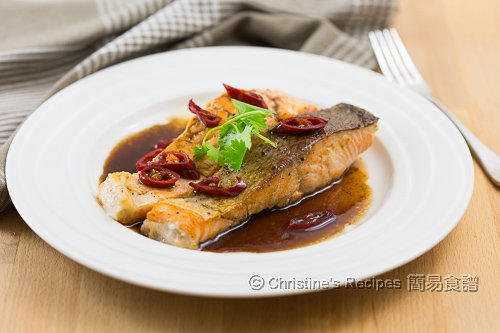 香煎三文魚扒配黑醋汁 Pan-Fried Salmon in Balsamic Sauce02