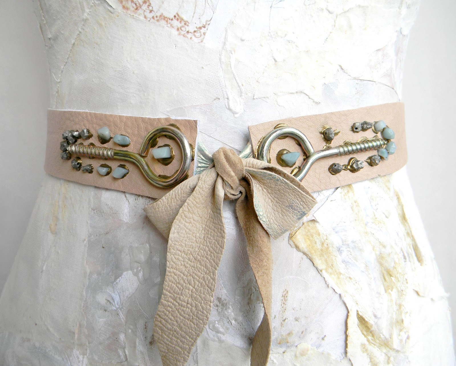 Steampunk Waist Belt Nude Leather Couture with Amazonite Beads