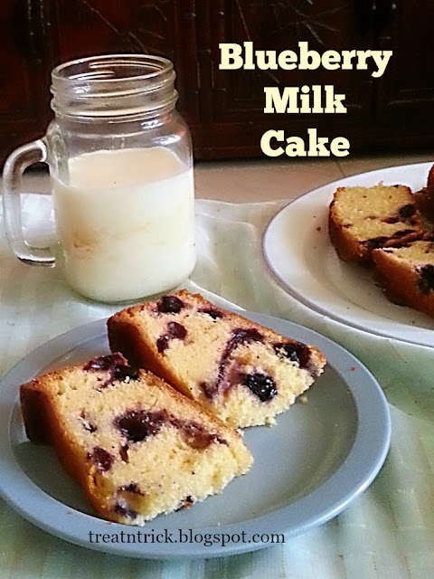 Blueberry Milk Cake Recipe @ treatntrick.blogspot.com