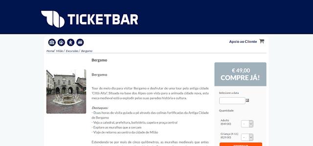 Ticketbar para ingressos para o tour pela cidade de Bergamo