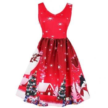 2018 Winter Print Waist and Big Christmas Dress