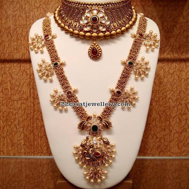 Gold Swirls Long Set by Naj Jewels