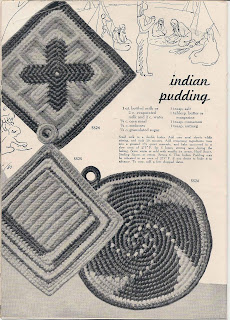 Vintage Crocheted Potholders Pattern, round and square