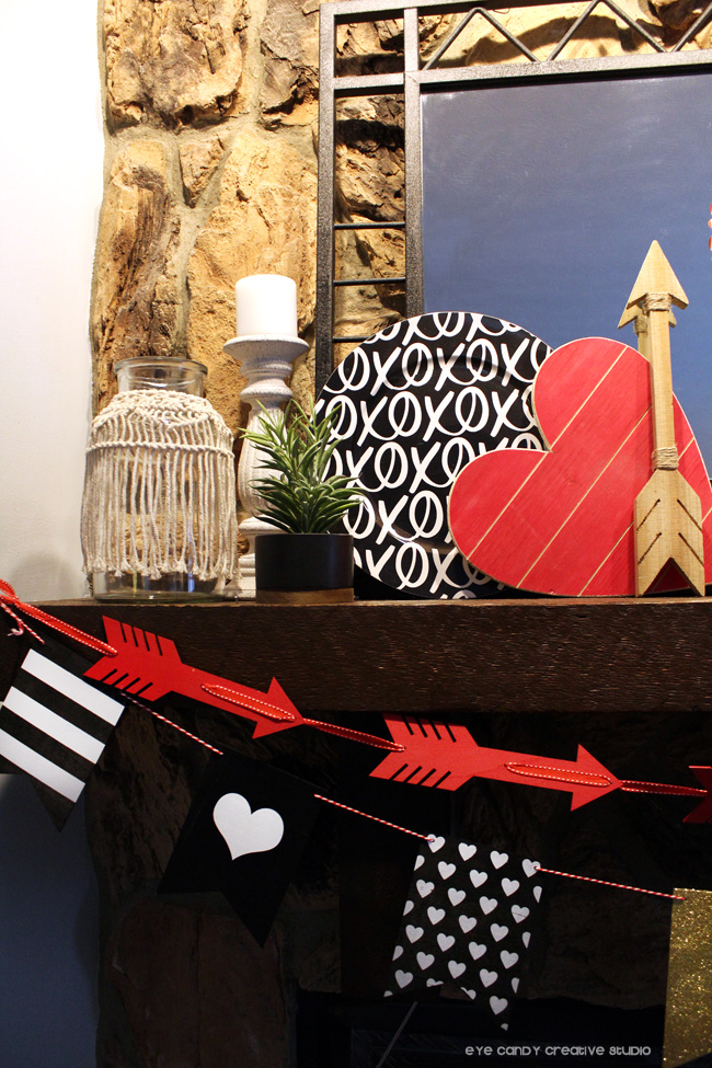 boho vase, kirklands, arrow bunting, target finds, arrow, mantel decor