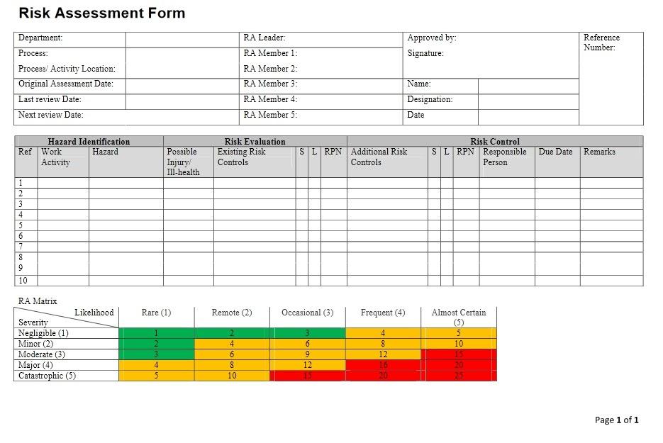network risk assessment template - ehs singapore risk management