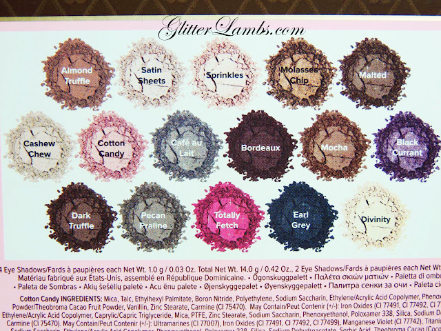 "Too Faced ""Chocolate Bon Bons Palette"" Swatches by Glitter Lambs www.GlitterLambs.com Makeup Eyeshadow Review Almond Truffle, Satin Sheets, Sprinkles, Molasses Chip, Malted, Chashew Chew, Cotton Candy, Cafe au lait, Bordeaux, Mocha, Black Currant, Dark Truffle, Pecan Praline, Totally Fetch, Earl Grey, Divinity"