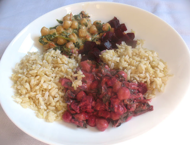 Chickpea, Spinach and Beets in a Coconut-Tomato Curry