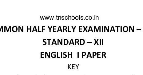 plus two common half yearly answer key 2016-English paper
