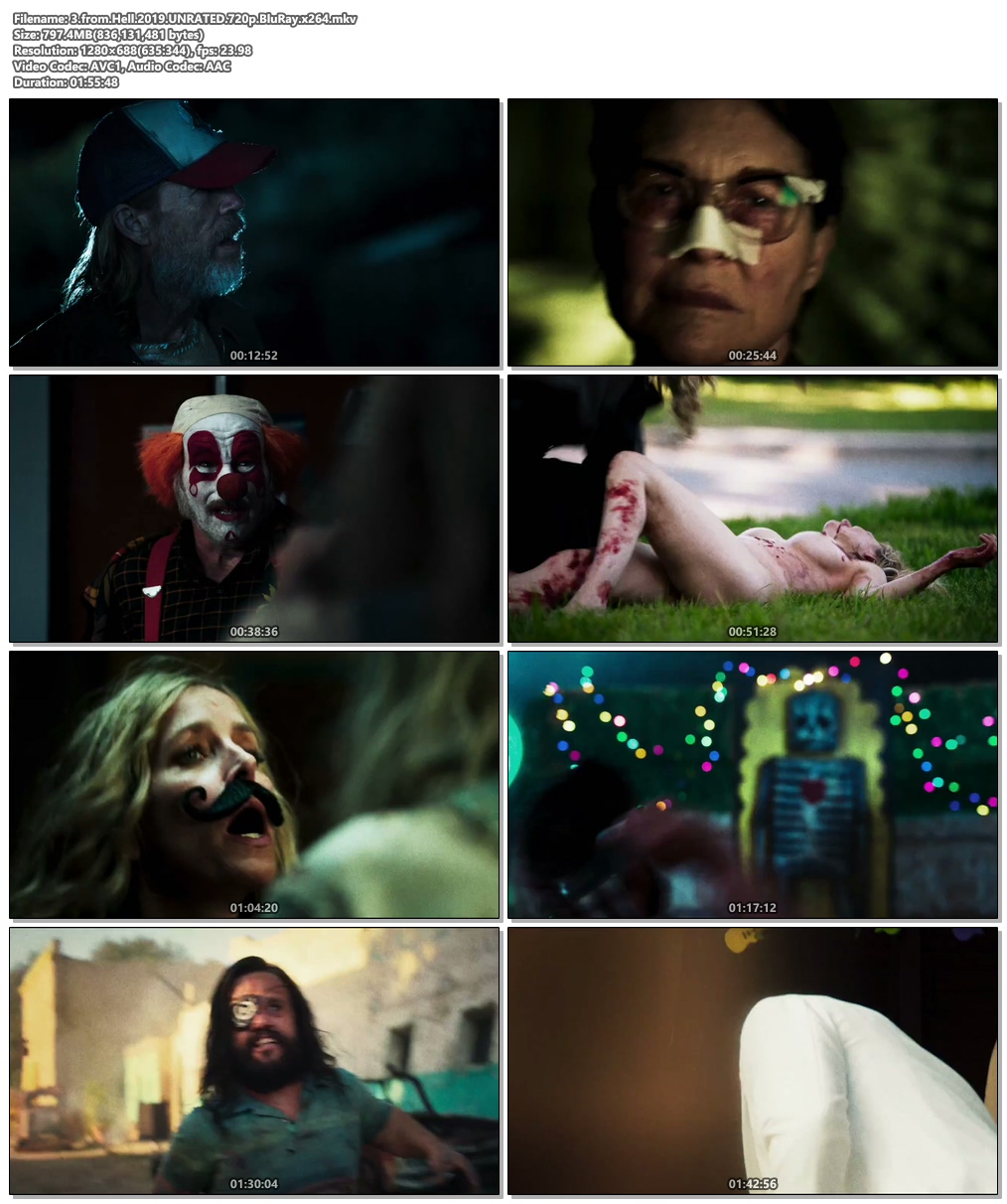 3 from Hell 2019 UNRATED 720p BluRay x264 | 480p 300MB | 100MB HEVC Screenshot