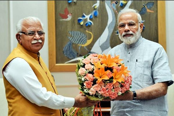 Haryana Chief Minister Manohar Lal Khattar Meet PM Narendra Modi