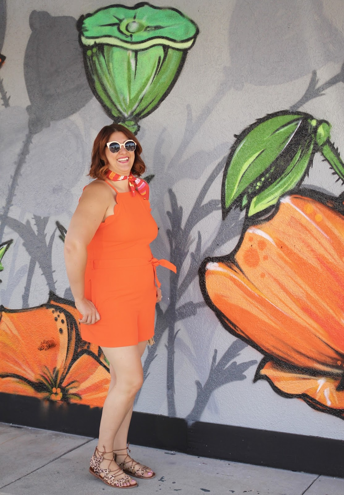 orange scalloped romper, victoria beckham for target, vintage style