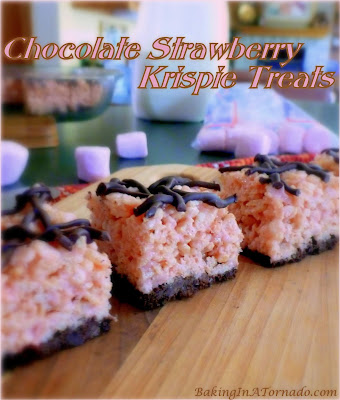 Chocolate Strawberry Krispie Treats are today's recipe. The old childhood favorite with the added flavors of chocolate and strawberry. | Recipe developed by www.BakingInATornado.com | #recipe #snack