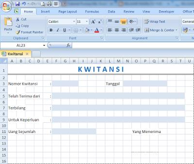 Contoh Kwitansi Dengan Format Excel Terbaru Tahun 2016
