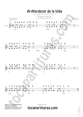 Partitura con Notas en Inglés (a, b, c, d, e, fa, g) English Notes Easy for treble clef, sax, flute, violin trumpet, clarinet...