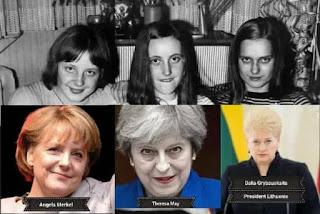 La conspiración en torno a FALSA  foto de juventud de Angela Merkel con Theresa May y directora de la CIA #Katecon2006