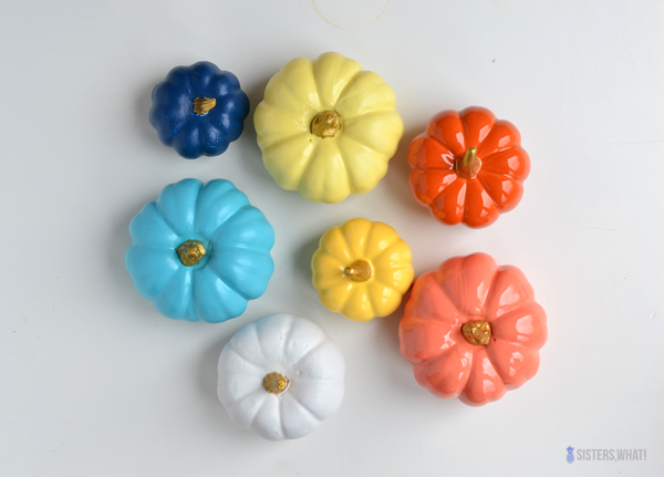 Spray painted colorful pumpkins sisters what Flower painted pumpkins