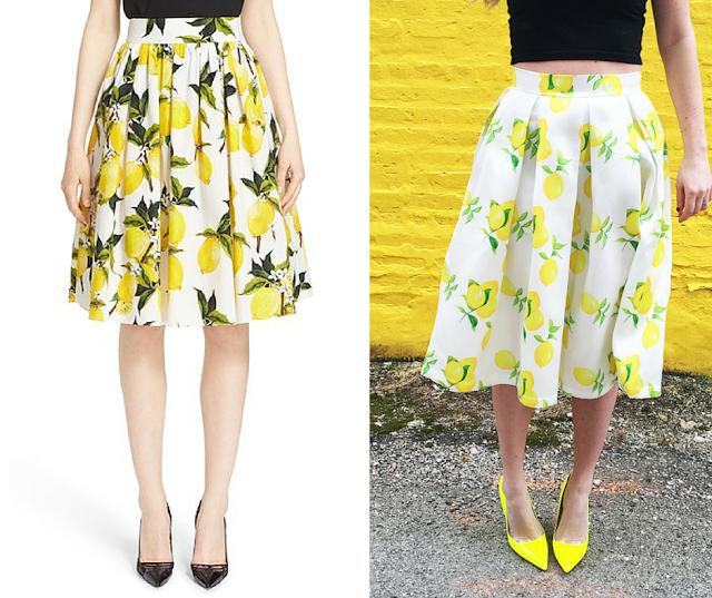 Get the look for less: Lemon Midi Skirts- Dolce & Gabbana vs. T+J Designs
