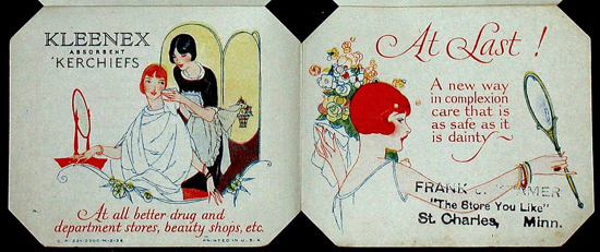 Kleenex, booklet 1926 cover