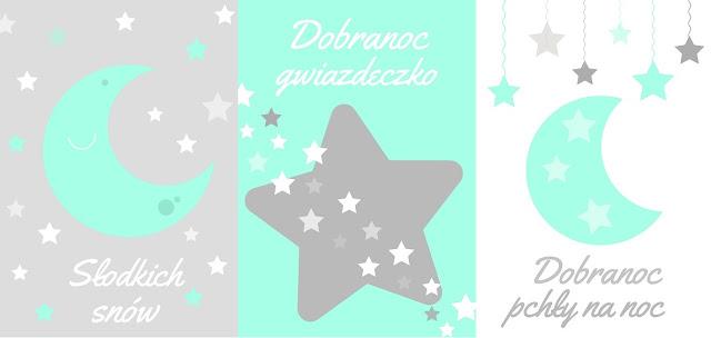 plakaty dla dzieci księżyc chmurka gwiazdki do pobrania