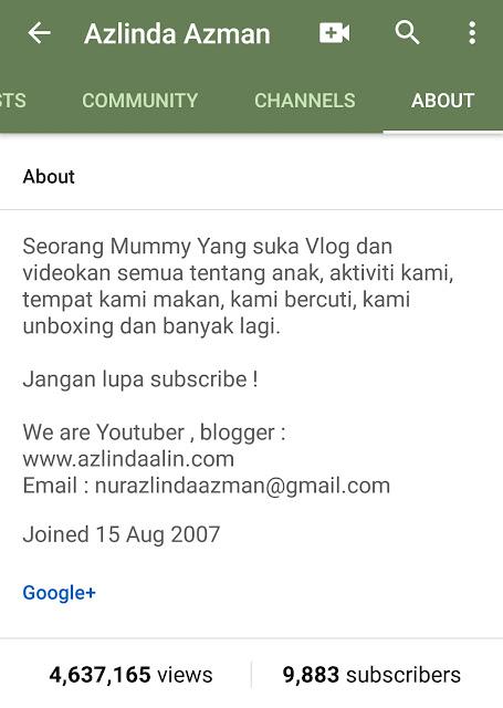 9883 YouTube Subscribers Ber'Adsense'. 4 juta viewers ! Terima Kasih semua ! Banyaknya subscribers? Erm...banyak ke? Mummy rasa biasa je ! Dari 2007 kot aktif YouTUbe dan mula berjinak-jinak upload pada 3-4 tahun yang lepas.
