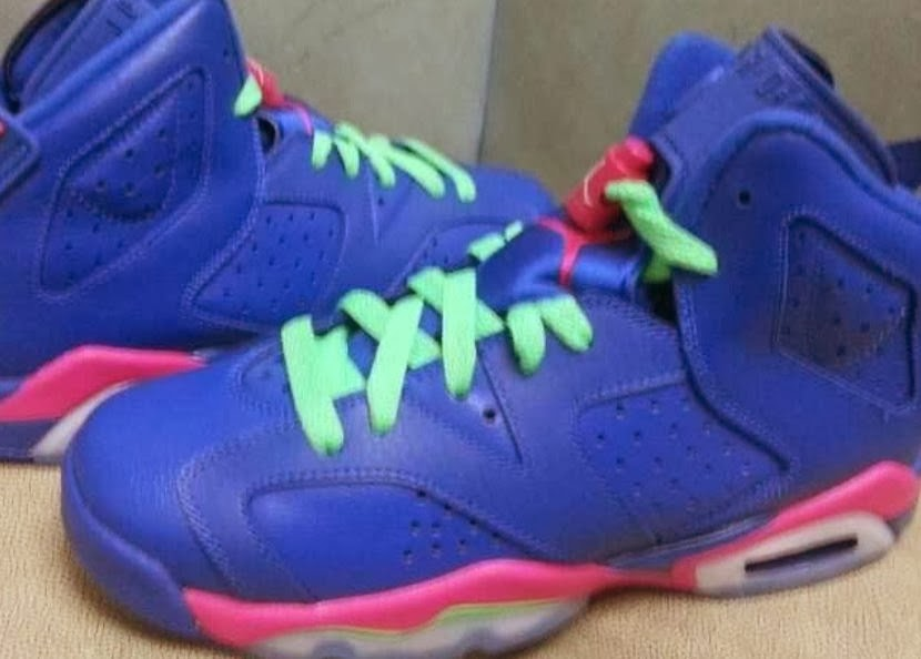 79f0209fe3e8 2014 Air Jordan 6 VI Blue Pink Green